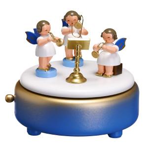 Weihnachtsdekoration Spieldose Engel mit Blasinstrumente natur BxHxT 13x12x13 cm NEU