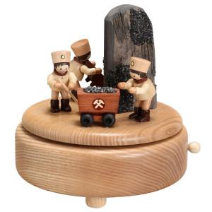 Weihnachtsdekoration Spieldose Bergmänner im Schacht natur BxHxT 14x12,5x14cm NEU