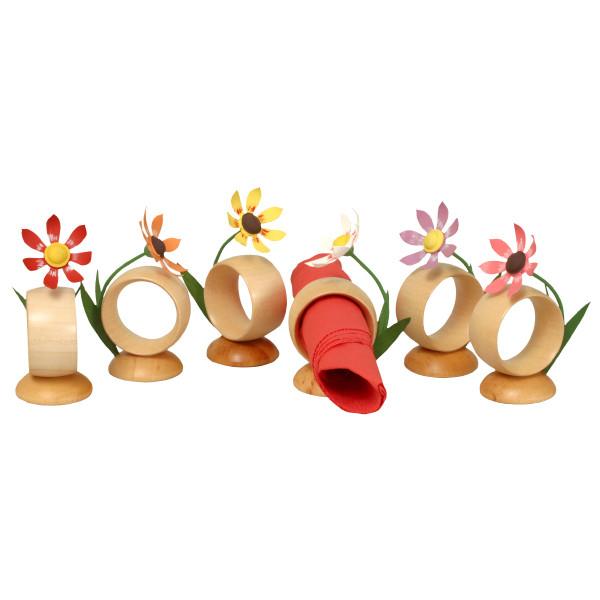 Tischdekoration 6 Serviettenringe mit Blumen Höhe 4 cm NEU