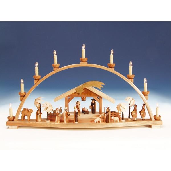 Fensterdekoration Schwibbogen Christi Geburt groß natur elektrische Beleuchtung Länge 78 cm NEU