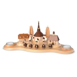 Kerzenständer Kerzenhalter Seiffener Dorf groß natur Teelichter (LxBxH):40x16x16cm NEU