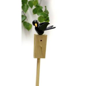 Vogel Singvogel schwarz Stab 51cm,Vogel 5cm NEU