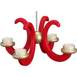 Lichterkranz Hängeleuchter mit 4 Armen und Teelichter rot HxBxT = 16x33x33cm NEU
