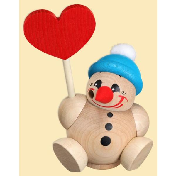 Weihnachtsfigur Kugelräuchermann Cool-Man mit Herz und Mütze HxBxT = 11x8x8cm NEU