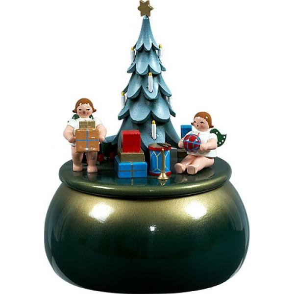 Spieldose Engel am Weihnachtsbaum / grün-gold d = 15 cm NEU