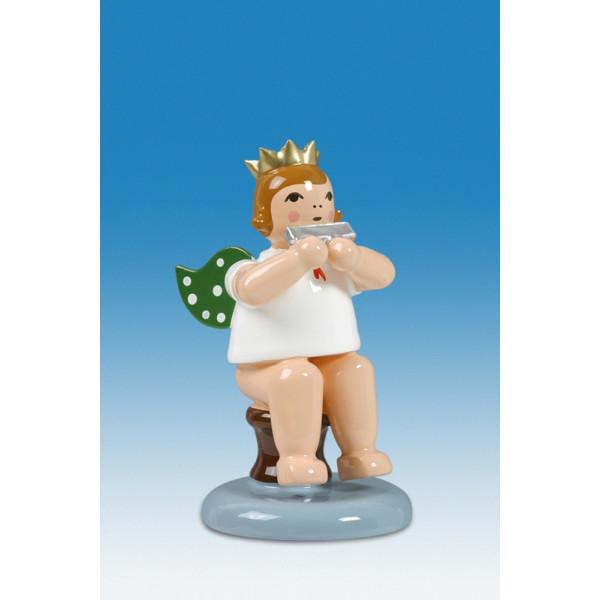 Engelmusikant Engel sitzend mit Mundharmonika mit Krone Höhe ca 6 cm NEU