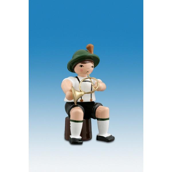 Ganzjahresfiguren Musikant sitzend mit Waldhorn Höhe ca 7cm NEU
