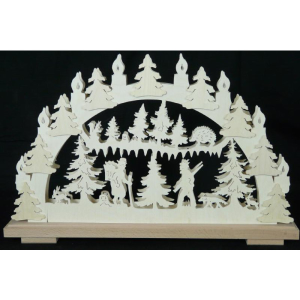 Schwibbogen Waldfreude mit Kerzen B x H= 50x30cm NEU