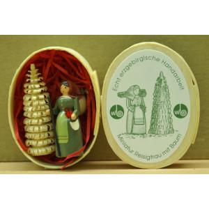 Miniatur, Reisigfrau 4 cm Erzgebirge Seiffen NEU