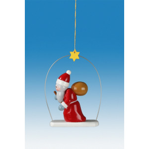 Baumbehang 3-teilig / Weihnachtsmann im Ring Höhe ca 6,5 cm NEU