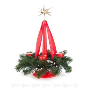 Adventsleuchter Adventsständer mit Band, 4 Kerzenhaltern und Stern, rot, für Kerzen d=20mm (ohne Kranz) Breite x Höhe x Tiefe 15 cmx33,5 cmx15 cm NEU