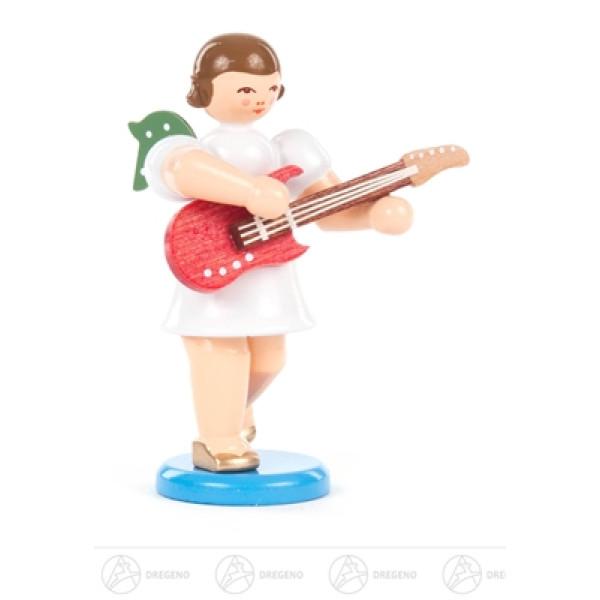 Engel mit E-Gitarre, kurzer Rock, farbig Höhe ca 6,5 cm NEU