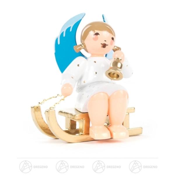 Engel mit Glocke auf Schlitten sitzend Höhe ca 6 cm NEU
