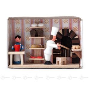 Miniatur Zündholzschachtel Bäckerei Breite x Höhe ca 5,5 cmx4 cm NEU