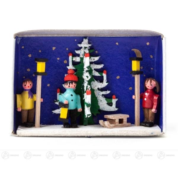 Miniatur Zündholzschachtel Adventszeit Breite x Höhe ca 5,5 cmx4 cm NEU