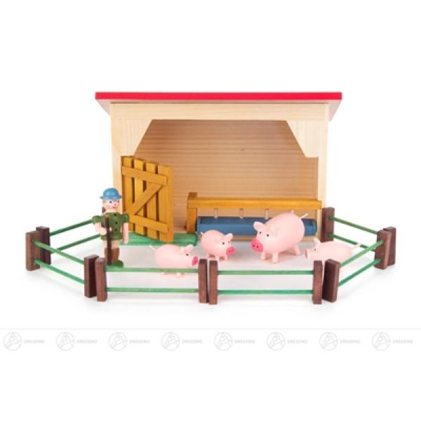 Miniatur Schweinestall mit Schweinen und Hirte (12) Breite x Höhe x Tiefe 13 cmx8 cmx7 cm NEU