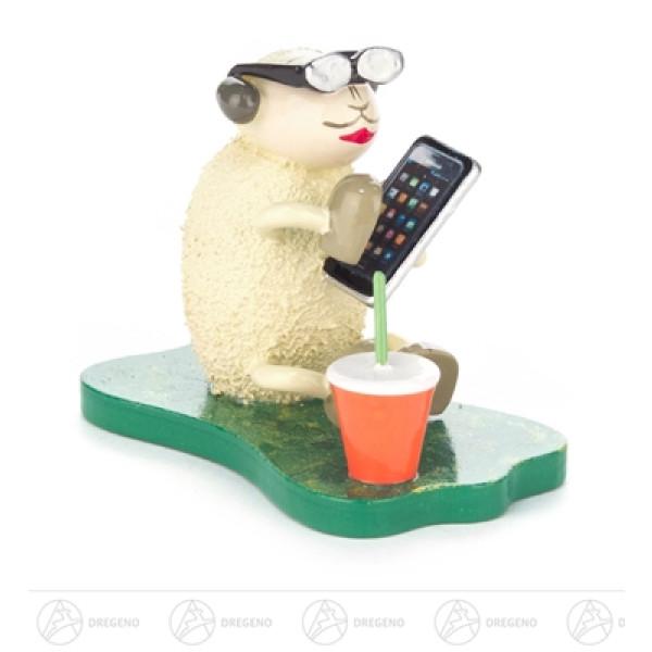 """Ostern & Frühjahr Schaf """"Smarty"""" mit Smartphone und Brille Höhe ca 5 cm NEU"""