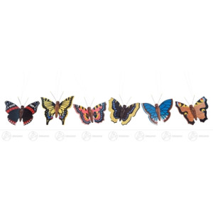 Ostern & Frühjahr Behang Schmetterlinge (6) Breite x Höhe ca 6 cmx5 cm NEU