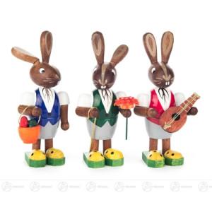 Ostern & Frühjahr Hasentrio mit Korb, Blume und Mandoline Höhe ca 7,5 cm NEU