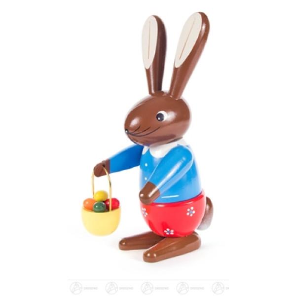 Ostern & Frühjahr Hasenfrau mit Handkorb mittelgroß, farbig Höhe ca 21,5 cm NEU