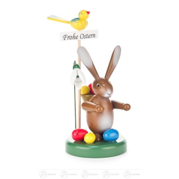 """Ostern & Frühjahr Hase """"Frohe Ostern"""" mit Korb und Blume Höhe ca 13,5 cm NEU"""