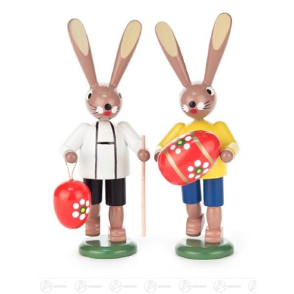Ostern & Frühjahr Hasenpaar mit Eiern Höhe ca 11,5 cm NEU