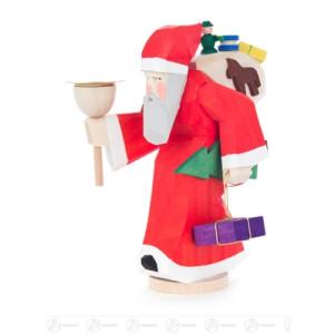 Schnitzerei Weihnachtsmann mit Geschenken und Kerzenhalter für Kerze d=14mm Breite x Höhe x Tiefe 4,5 cmx12 cmx6,5 cm NEU