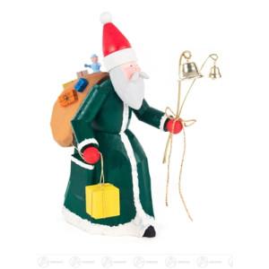 Schnitzerei Weihnachtsmann mit Geschenken und Glocken grün, geschnitzt Breite x Höhe x Tiefe 8 cmx18,5 cmx10,5 cm NEU