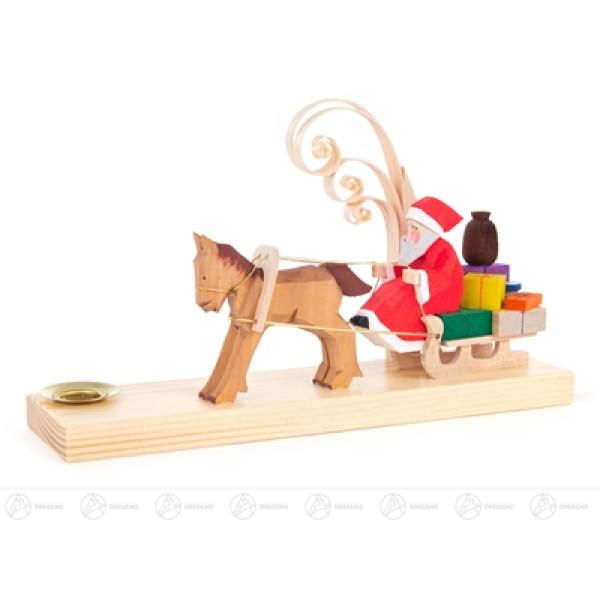 Schnitzerei Weihnachtsmann im Pferdeschlitten, für Kerze d=14mm Breite x Höhe x Tiefe 20 cmx11,5 cmx5,5 cm NEU