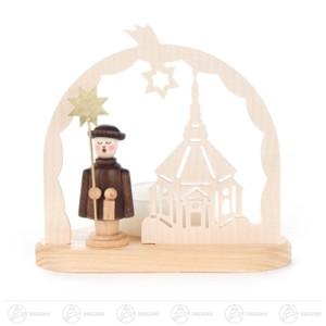 Teelichthalter mit Kurrendefigur und Seiffener Kirche Breite x Höhe x Tiefe 9,5 cmx8,5 cmx7 cm NEU