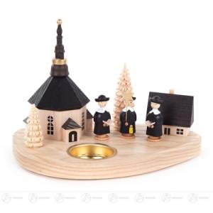 Teelichthalter mit Seiffener Kirche und Kurrende Höhe ca 13 cm NEU