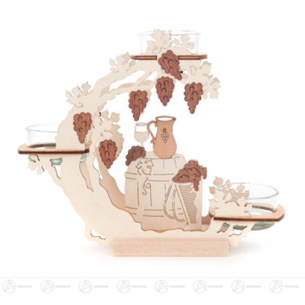 Teelichtkranz Weinmotiv Breite x Höhe x Tiefe 19 cmx16 cmx6 cm NEU
