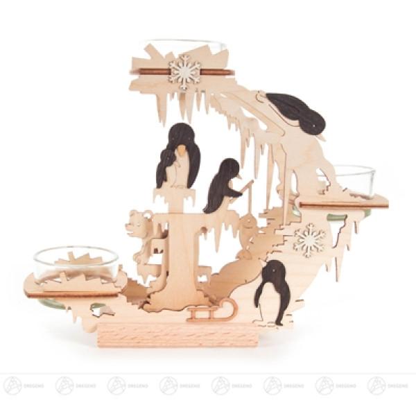 Teelichtkranz Pinguine Breite x Höhe x Tiefe 18,5 cmx15 cmx6,5 cm NEU