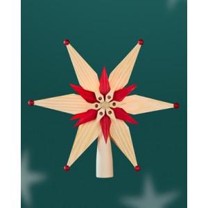 Baumschmuck Christbaumspitze el Beleuchtet doppelt aus Kiefernblätter Mittig Stern Rot (Beidseitig) BxHxT=25x25x7cm NEU
