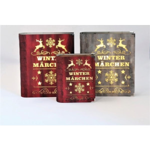 "1 x Holz-Dekobuch ""Wintermärchen"", mit LED-Innenbeleuchtung, 10 Mini-LEDs, Batteriebetrieb, Antik-Rot; Höhe 24 cm NEU"