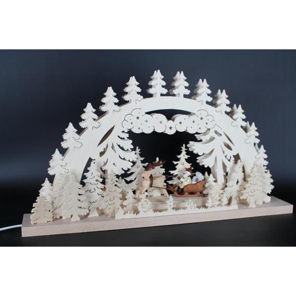 Beleuchteter Schwibbogen Weihnachtsmann mit Renntier Größe =60x33cm NEU