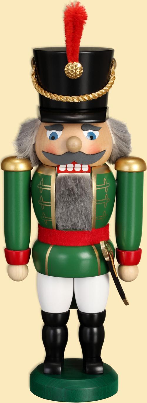 Weihnachtsdekoration Nußknacker Husar grün HxBxT = 28x11x7cm NEU