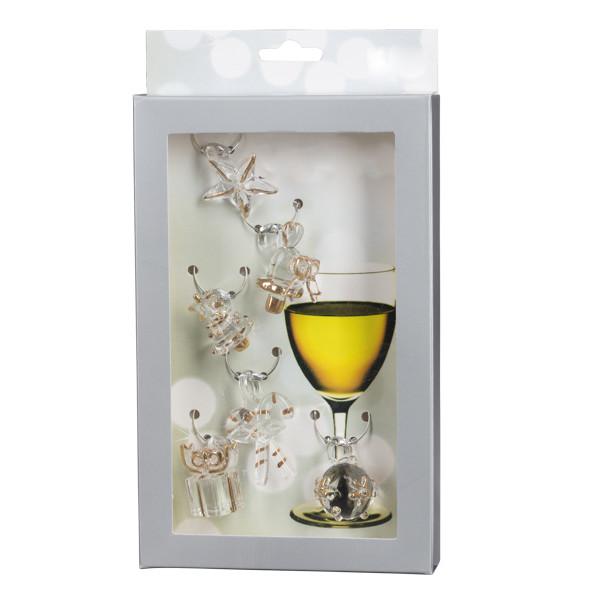 Weinglasmarkierer aus mundgeblasenem Glas, 6teilig, kristall/gold Anhänger ca.3cm NEU