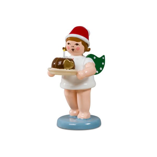 Weihnachtsengel mit Kuchen mit Mütze Höhe ca 6,5cm NEU