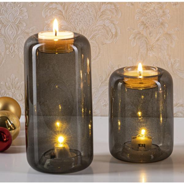 Beleuchteter Teelichthalter aus Glas dekoriert, Schwarz, Batteriebetrieb (3 x 1,5 V R44), 2er Set Höhe 10cm&15cm,Ø7,5cm NEU