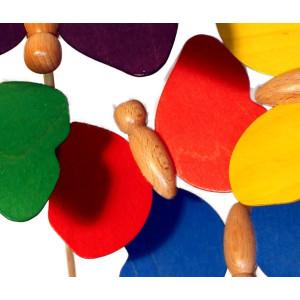 Holzspielzeug Holzschmetterling mit Stecker rot Schmetterling 9 x 7cm, Stab Länge 30 cm NEU