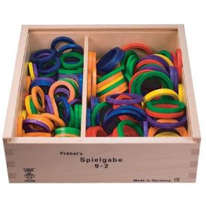 Holzspielzeug Fröbel Gabe 9-2 Ringe 46mm LxBxH 220x220x75mm NEU