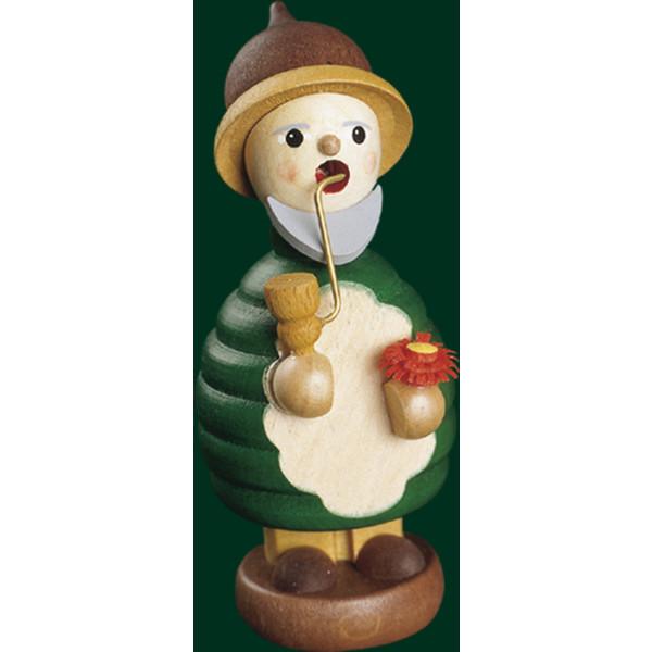 Räucherfigur Weihnachten Erzgebirge Seiffen Waldwichtel mit Blume 26308 NEU