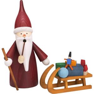 Räuchermann Weihnachtsmannwichtel mit Schlitten HxBxT = 16x17x9cm NEU