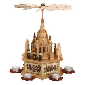 Pyramide mit großer Dresdner Frauenkirche, Sockel aus Echtholzfurnier 0580 NEU