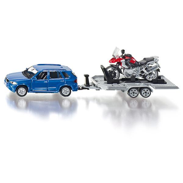 2547 Siku Super PKW mit Anhänger und Motorrad 1:50 Auto mit Hänger NEU TOP