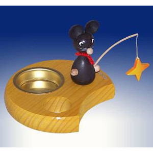Ganzjahresdekoration Maus mit Angel und Stern Höhe 6cm NEU