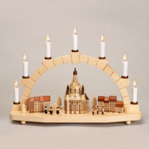 Schwibbogen Kurrende mit Dresdener Frauenkirche und Häuser elektrisch HxLxB 29x40x11cm NEU