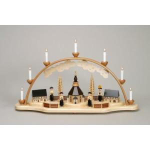 Schwibbogen Kurrende mit Seiffener Kirche elektrisch HxLxB 40x70x12cm NEU