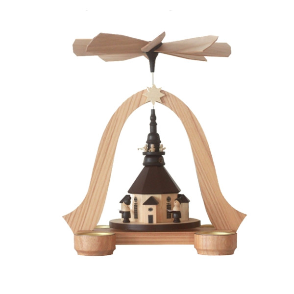 Pyramide mit Seiffener Kirche Teelichter HxBxT 26x23x20cm NEU